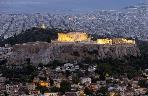 Красивый вид на город Афины