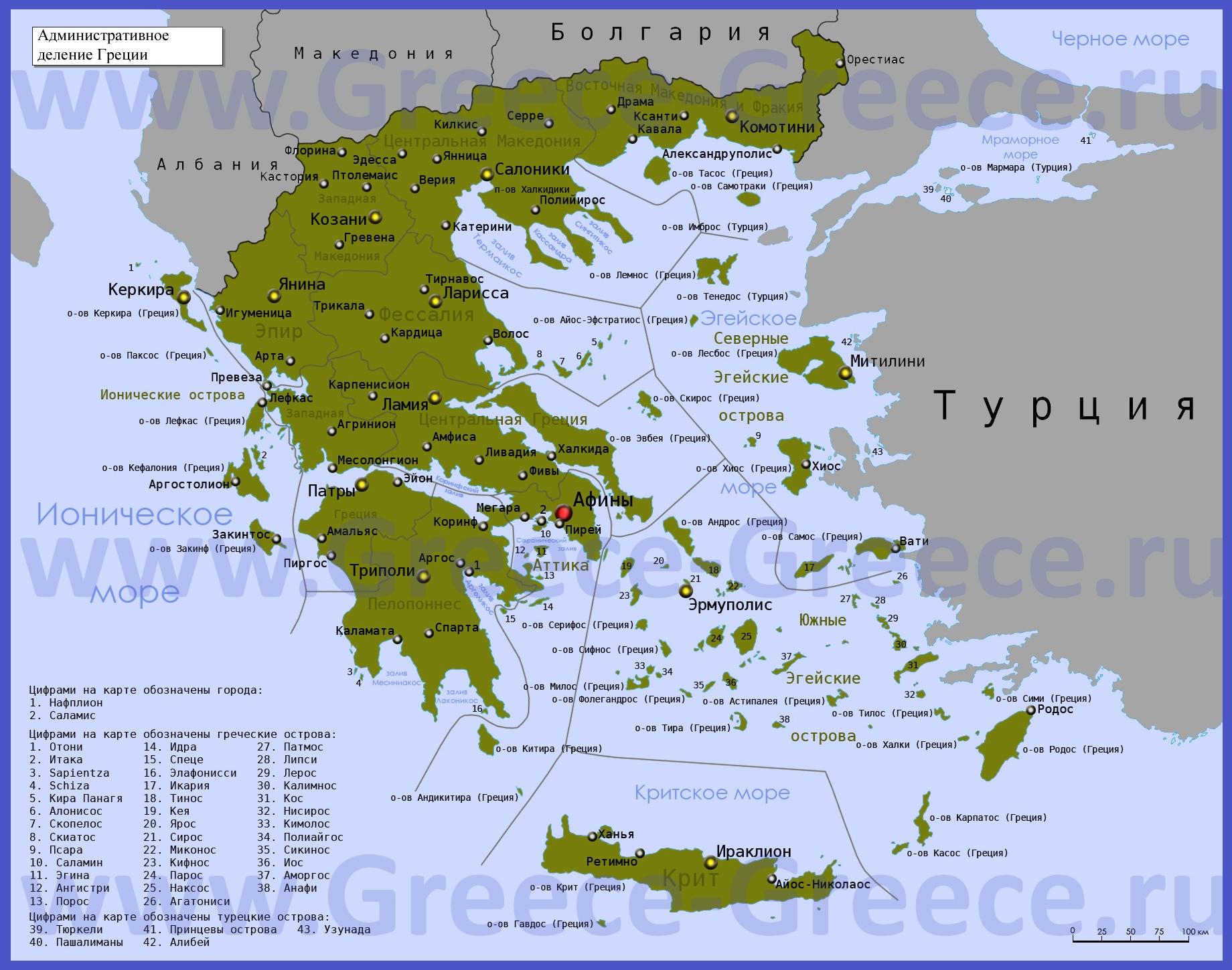 Karty Grecii Podrobnaya Karta Materikovoj Grecii Na Russkom Yazyke S