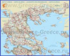 Подробная карта материковой северной части Греции с городами и курортами