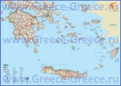 Подробная карта южной части Греции с островами и курортами