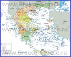 Политическая карта Греции