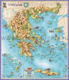 Туристическая карта Греции с достопримечательностями