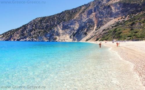 Пляж Миртос на Кефалонии